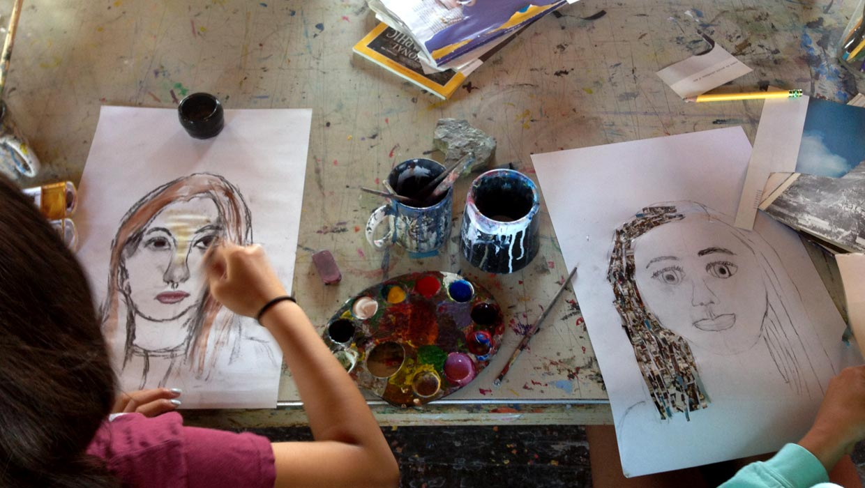 making art portraits at a camp