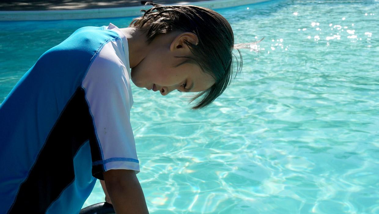 swimming at a summer camp