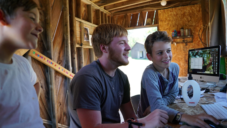 video editing at a summer sleepaway camp