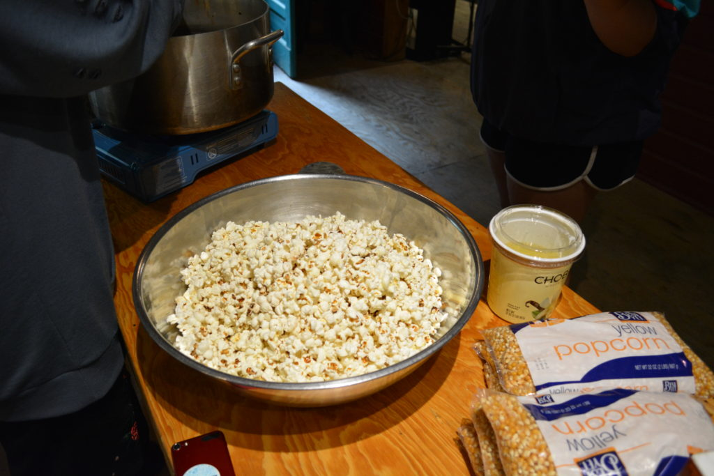 snacks at art camp - popcorn